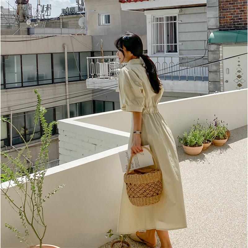 韓国 ファッション ワンピース 春 夏 カジュアル PTXJ627  ナチュラルテイスト リネン風 Aライン マキシ オルチャン シンプル 定番 セレカジの写真15枚目
