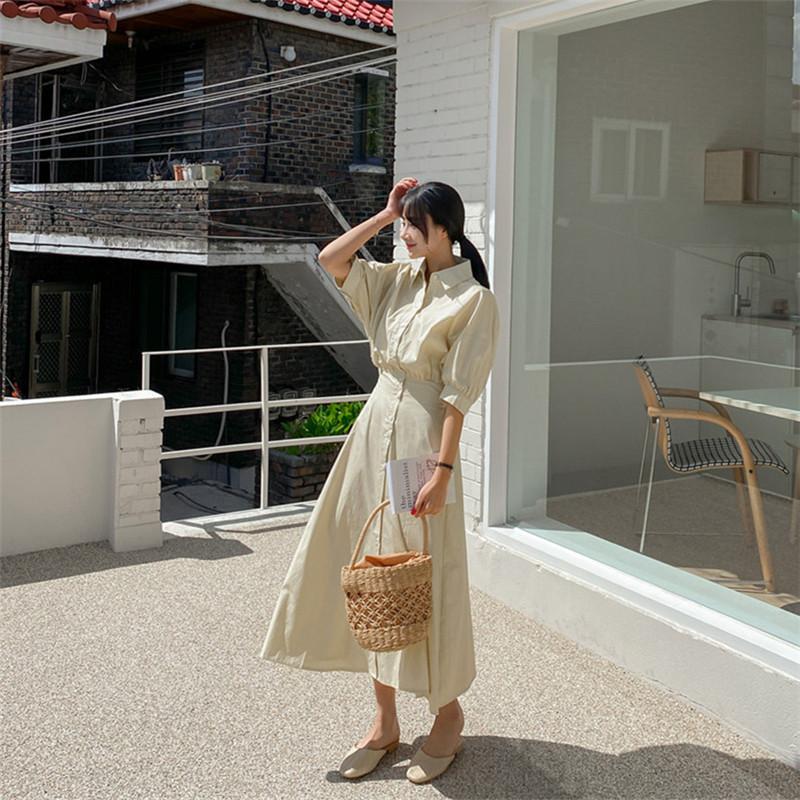 韓国 ファッション ワンピース 春 夏 カジュアル PTXJ627  ナチュラルテイスト リネン風 Aライン マキシ オルチャン シンプル 定番 セレカジの写真17枚目