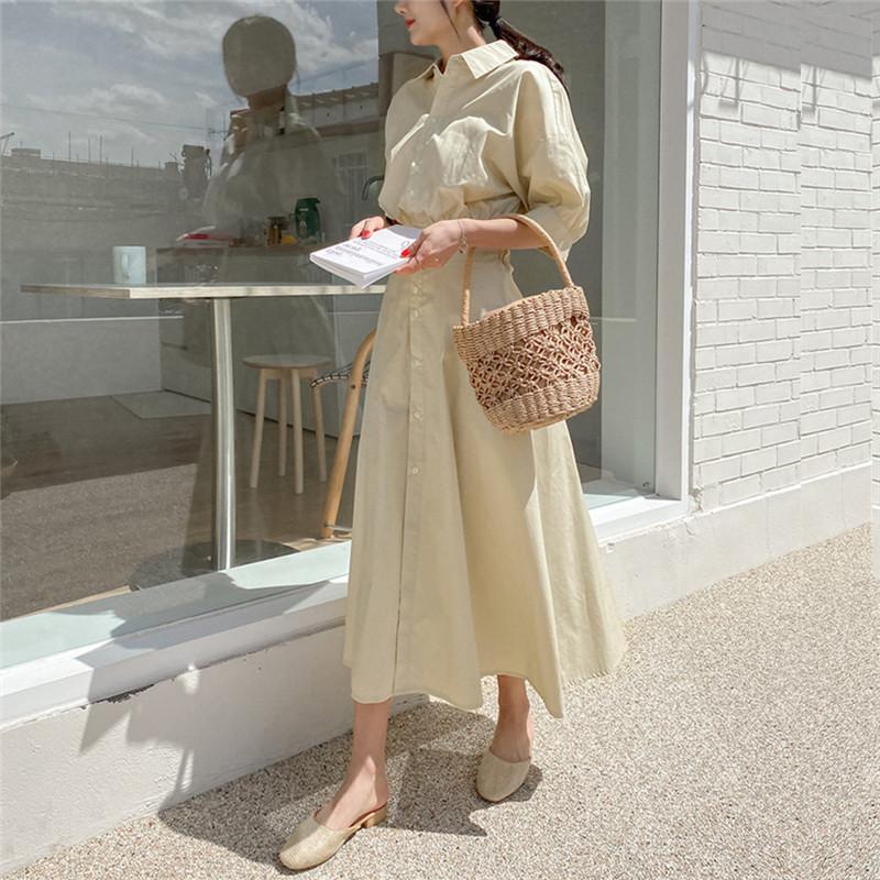 韓国 ファッション ワンピース 春 夏 カジュアル PTXJ627  ナチュラルテイスト リネン風 Aライン マキシ オルチャン シンプル 定番 セレカジの写真19枚目