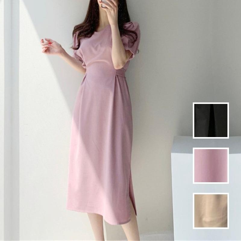 韓国 ファッション ワンピース 春 夏 カジュアル PTXJ632  ナチュラルテイストYライン パフスリーブ オルチャン シンプル 定番 セレカジの写真1枚目