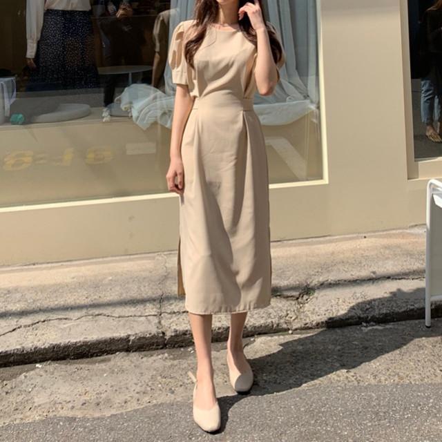 韓国 ファッション ワンピース 春 夏 カジュアル PTXJ632  ナチュラルテイストYライン パフスリーブ オルチャン シンプル 定番 セレカジの写真2枚目