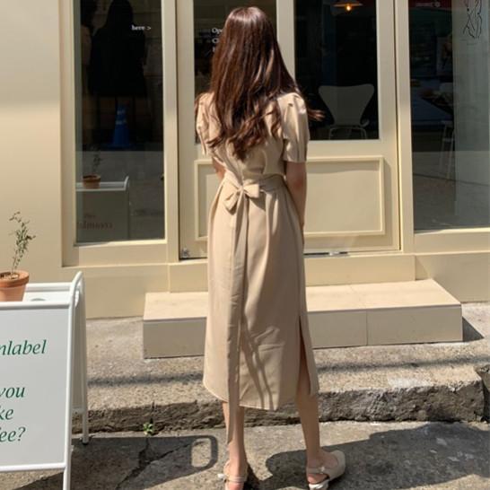 韓国 ファッション ワンピース 春 夏 カジュアル PTXJ632  ナチュラルテイストYライン パフスリーブ オルチャン シンプル 定番 セレカジの写真3枚目
