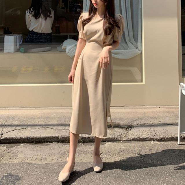 韓国 ファッション ワンピース 春 夏 カジュアル PTXJ632  ナチュラルテイストYライン パフスリーブ オルチャン シンプル 定番 セレカジの写真4枚目