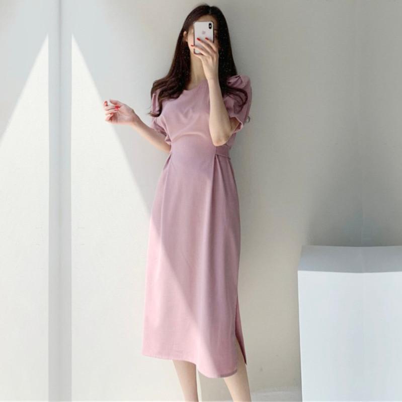 韓国 ファッション ワンピース 春 夏 カジュアル PTXJ632  ナチュラルテイストYライン パフスリーブ オルチャン シンプル 定番 セレカジの写真5枚目