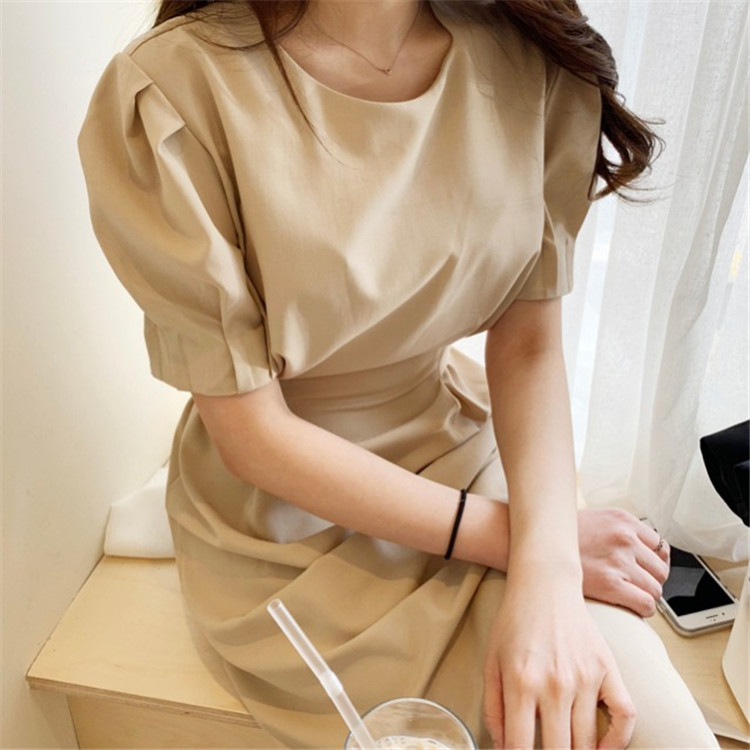 韓国 ファッション ワンピース 春 夏 カジュアル PTXJ632  ナチュラルテイストYライン パフスリーブ オルチャン シンプル 定番 セレカジの写真6枚目
