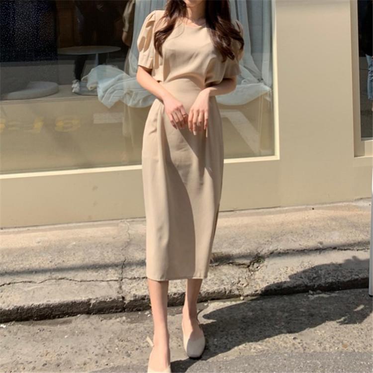 韓国 ファッション ワンピース 春 夏 カジュアル PTXJ632  ナチュラルテイストYライン パフスリーブ オルチャン シンプル 定番 セレカジの写真7枚目