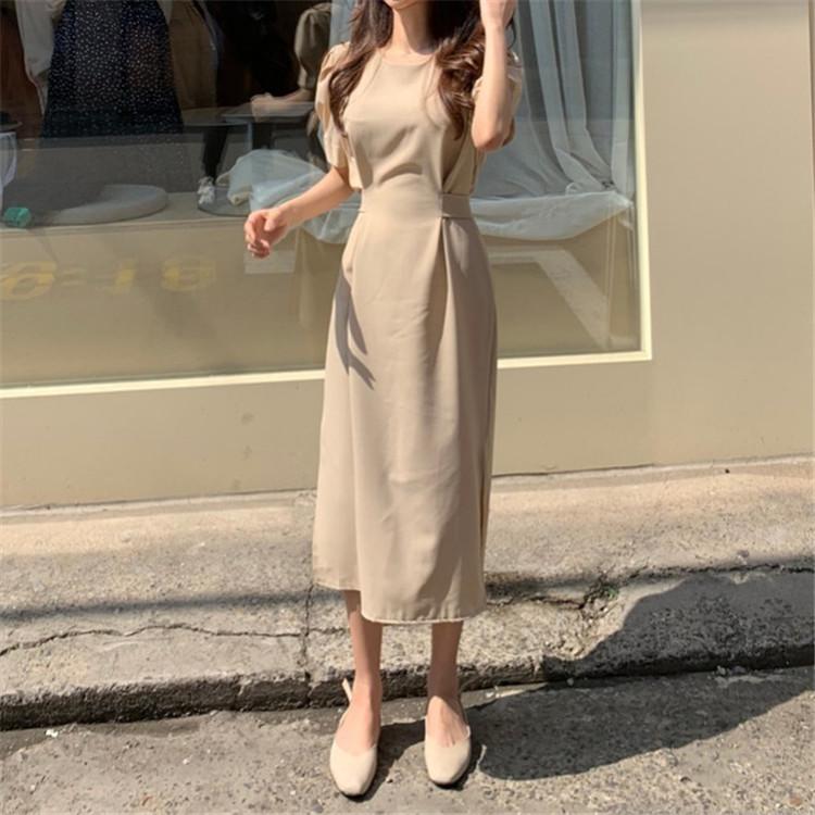 韓国 ファッション ワンピース 春 夏 カジュアル PTXJ632  ナチュラルテイストYライン パフスリーブ オルチャン シンプル 定番 セレカジの写真8枚目