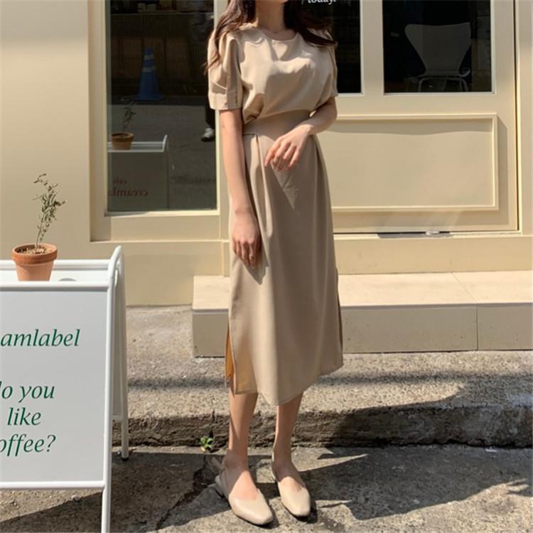 韓国 ファッション ワンピース 春 夏 カジュアル PTXJ632  ナチュラルテイストYライン パフスリーブ オルチャン シンプル 定番 セレカジの写真10枚目