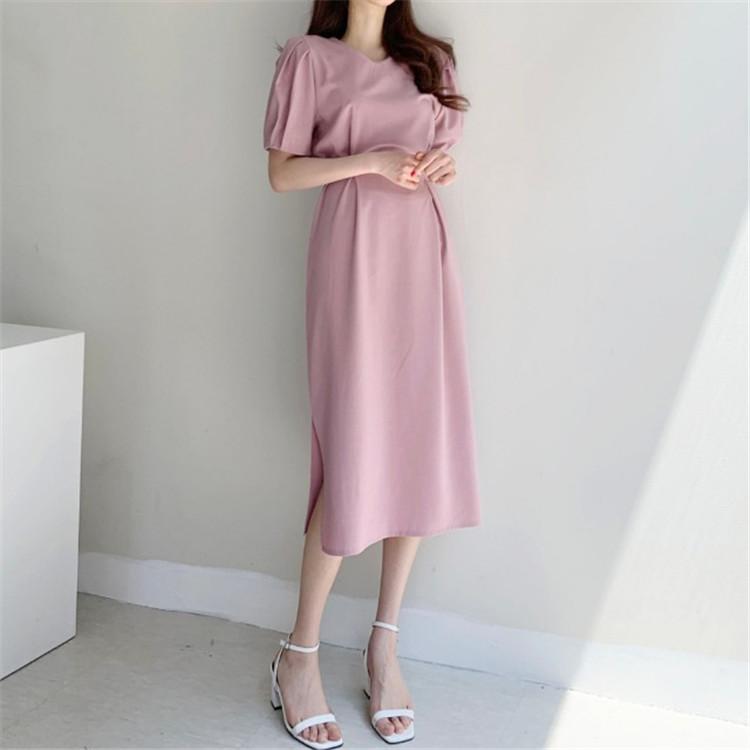韓国 ファッション ワンピース 春 夏 カジュアル PTXJ632  ナチュラルテイストYライン パフスリーブ オルチャン シンプル 定番 セレカジの写真11枚目