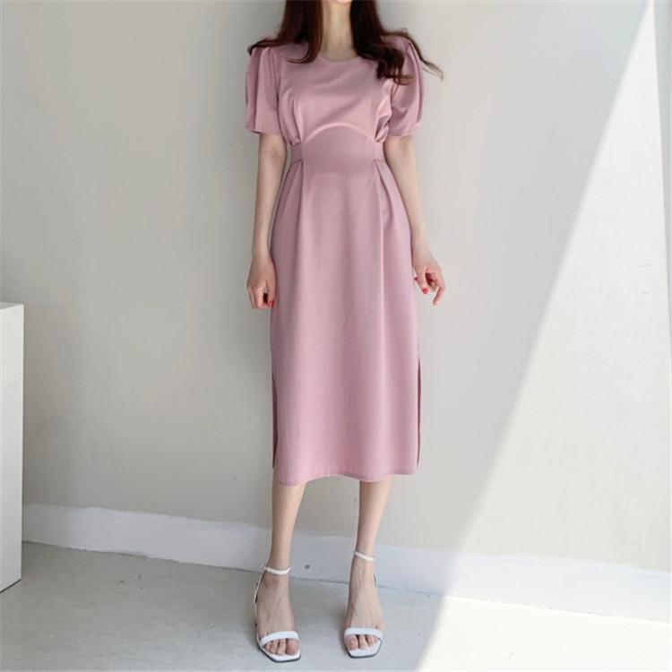 韓国 ファッション ワンピース 春 夏 カジュアル PTXJ632  ナチュラルテイストYライン パフスリーブ オルチャン シンプル 定番 セレカジの写真12枚目