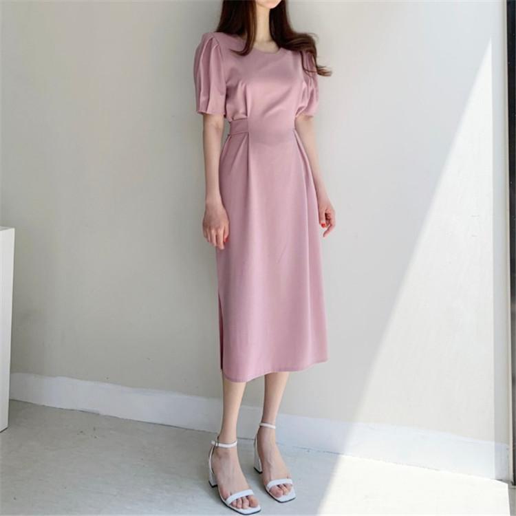 韓国 ファッション ワンピース 春 夏 カジュアル PTXJ632  ナチュラルテイストYライン パフスリーブ オルチャン シンプル 定番 セレカジの写真13枚目