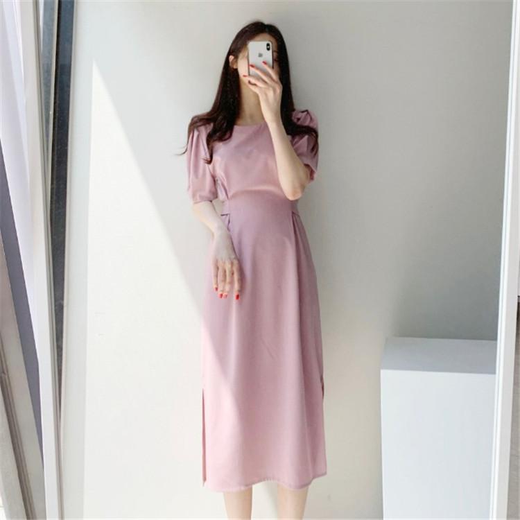 韓国 ファッション ワンピース 春 夏 カジュアル PTXJ632  ナチュラルテイストYライン パフスリーブ オルチャン シンプル 定番 セレカジの写真14枚目