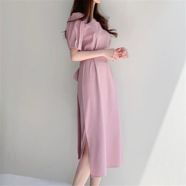 韓国 ファッション ワンピース 春 夏 カジュアル PTXJ632  ナチュラルテイストYライン パフスリーブ オルチャン シンプル 定番 セレカジの写真15枚目