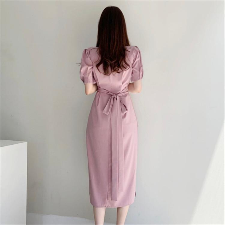 韓国 ファッション ワンピース 春 夏 カジュアル PTXJ632  ナチュラルテイストYライン パフスリーブ オルチャン シンプル 定番 セレカジの写真16枚目