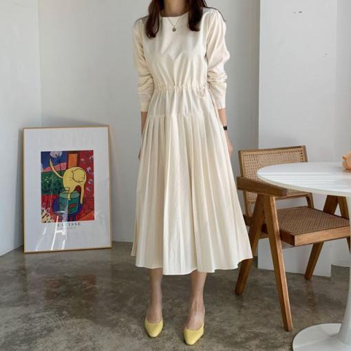 韓国 ファッション ワンピース 春 夏 秋 カジュアル PTXJ650  プリーツ Aライン 切り替え ウエストシェイプ オルチャン シンプル 定番 セレカジの写真2枚目