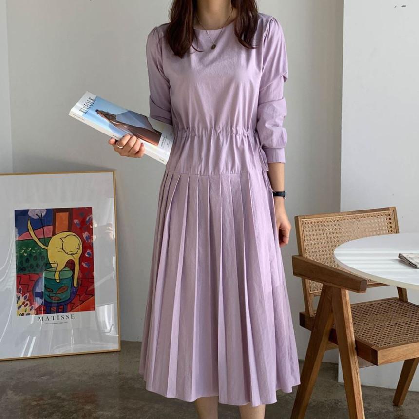 韓国 ファッション ワンピース 春 夏 秋 カジュアル PTXJ650  プリーツ Aライン 切り替え ウエストシェイプ オルチャン シンプル 定番 セレカジの写真3枚目