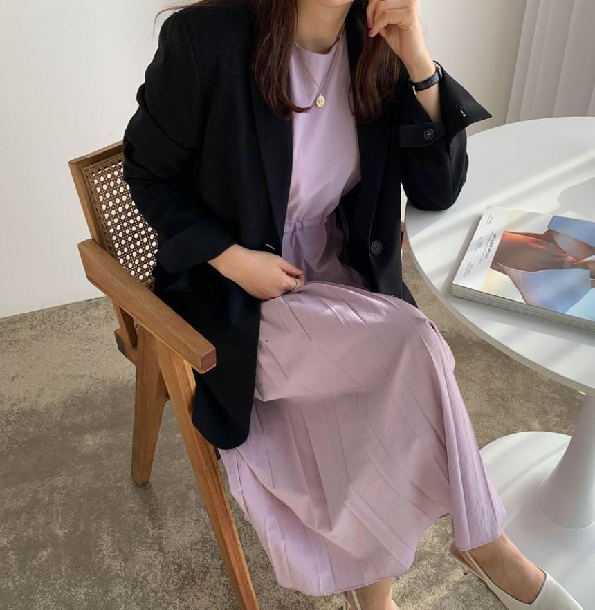 韓国 ファッション ワンピース 春 夏 秋 カジュアル PTXJ650  プリーツ Aライン 切り替え ウエストシェイプ オルチャン シンプル 定番 セレカジの写真5枚目