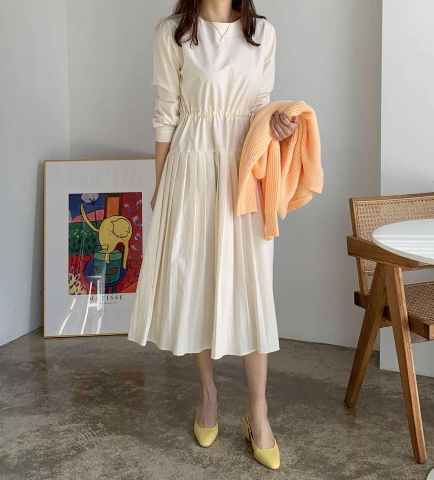 韓国 ファッション ワンピース 春 夏 秋 カジュアル PTXJ650  プリーツ Aライン 切り替え ウエストシェイプ オルチャン シンプル 定番 セレカジの写真6枚目