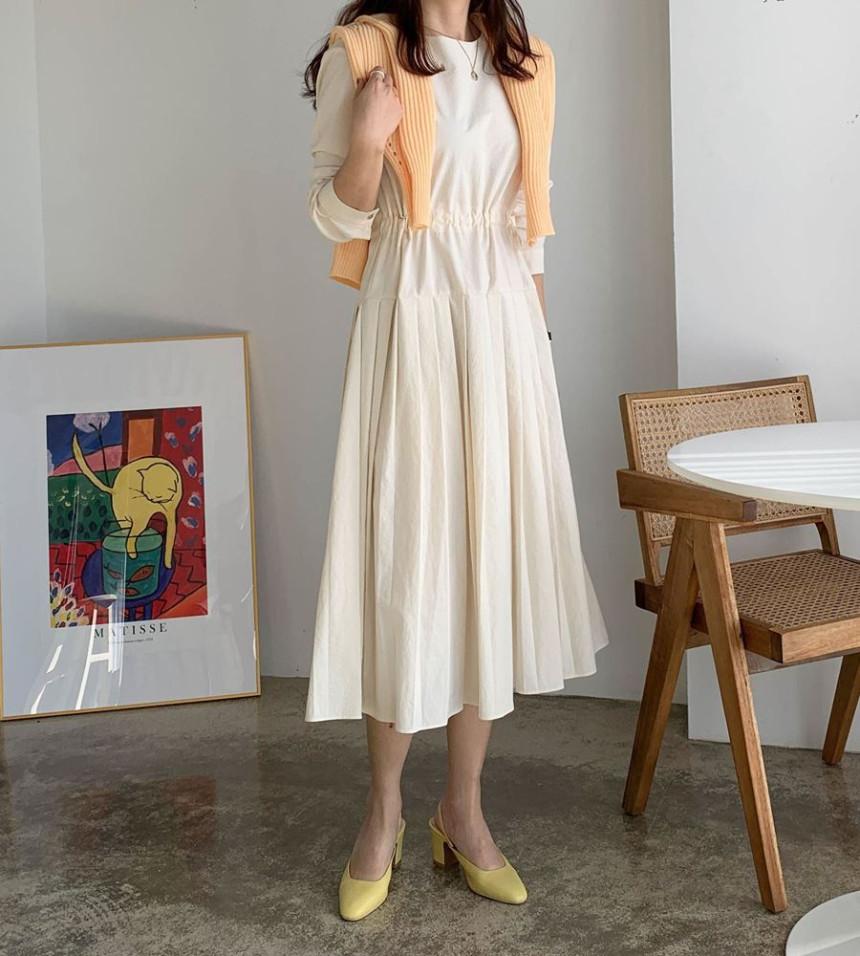 韓国 ファッション ワンピース 春 夏 秋 カジュアル PTXJ650  プリーツ Aライン 切り替え ウエストシェイプ オルチャン シンプル 定番 セレカジの写真7枚目