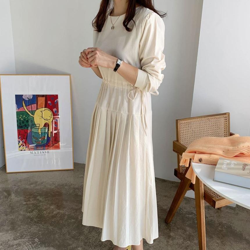 韓国 ファッション ワンピース 春 夏 秋 カジュアル PTXJ650  プリーツ Aライン 切り替え ウエストシェイプ オルチャン シンプル 定番 セレカジの写真8枚目