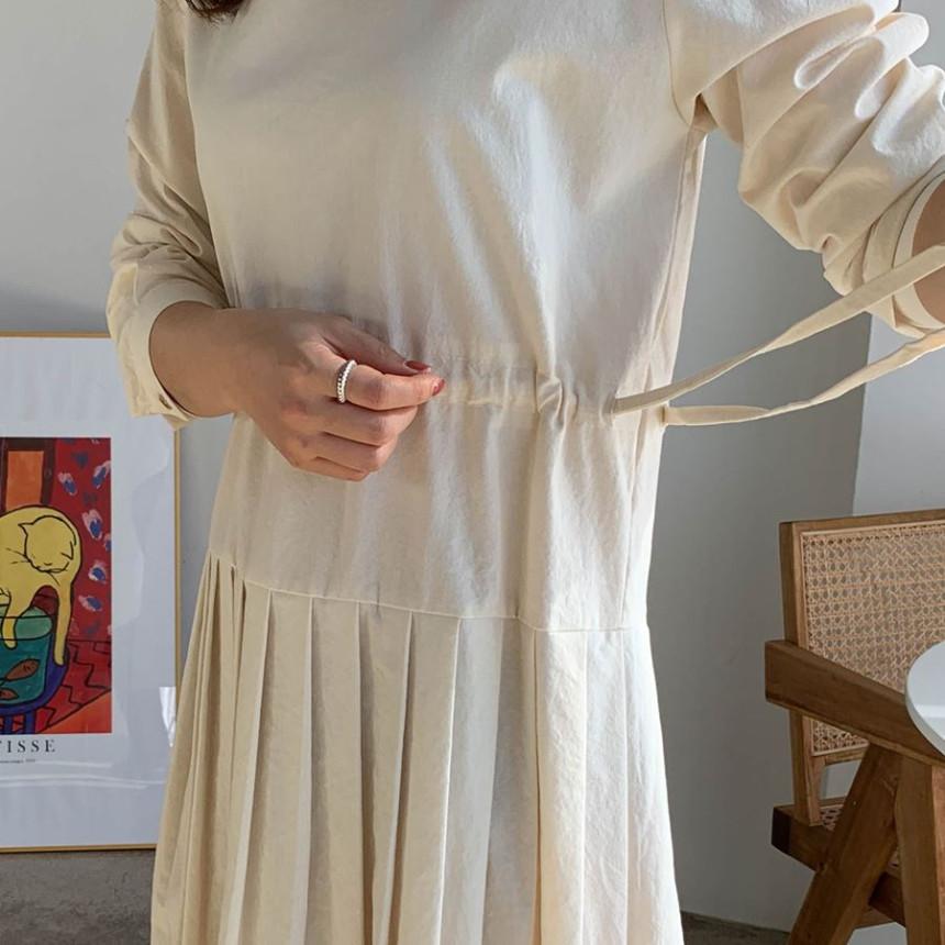韓国 ファッション ワンピース 春 夏 秋 カジュアル PTXJ650  プリーツ Aライン 切り替え ウエストシェイプ オルチャン シンプル 定番 セレカジの写真11枚目