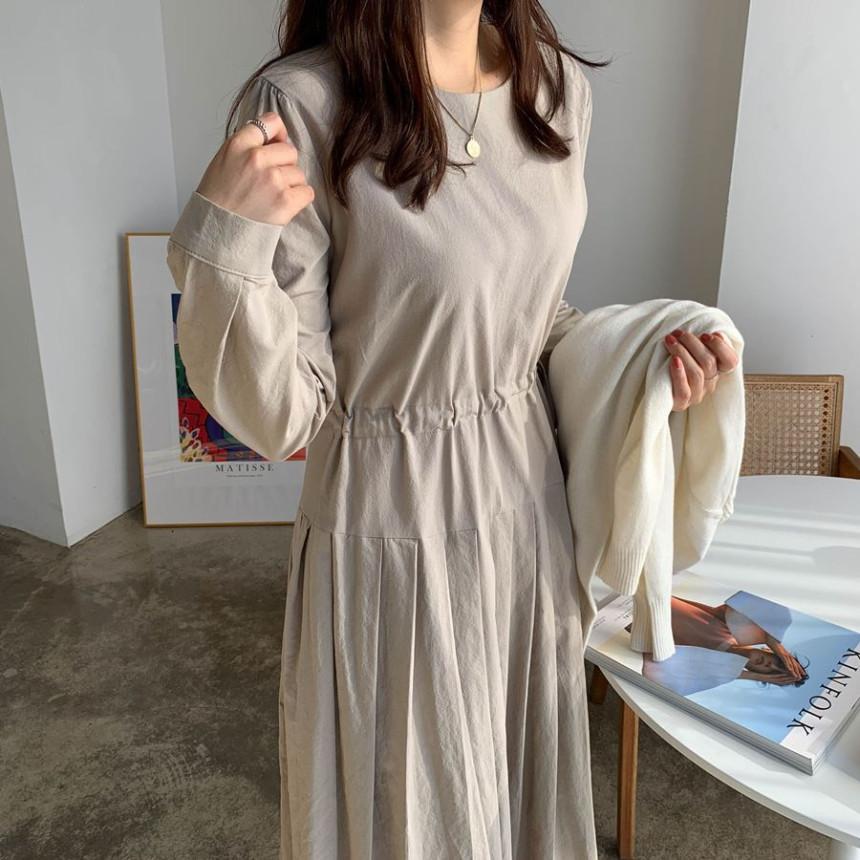 韓国 ファッション ワンピース 春 夏 秋 カジュアル PTXJ650  プリーツ Aライン 切り替え ウエストシェイプ オルチャン シンプル 定番 セレカジの写真16枚目