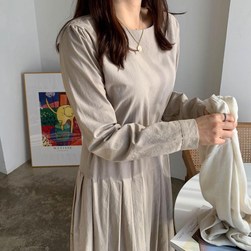 韓国 ファッション ワンピース 春 夏 秋 カジュアル PTXJ650  プリーツ Aライン 切り替え ウエストシェイプ オルチャン シンプル 定番 セレカジの写真17枚目