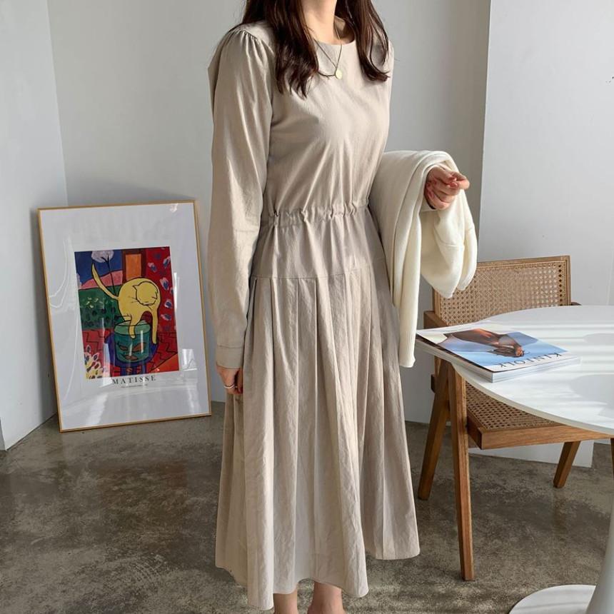 韓国 ファッション ワンピース 春 夏 秋 カジュアル PTXJ650  プリーツ Aライン 切り替え ウエストシェイプ オルチャン シンプル 定番 セレカジの写真18枚目