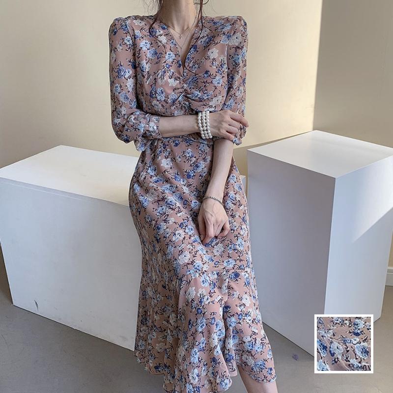 韓国 ファッション ワンピース 春 夏 秋 カジュアル PTXJ655  シアー シフォン ドレープ エレガント オルチャン シンプル 定番 セレカジの写真1枚目