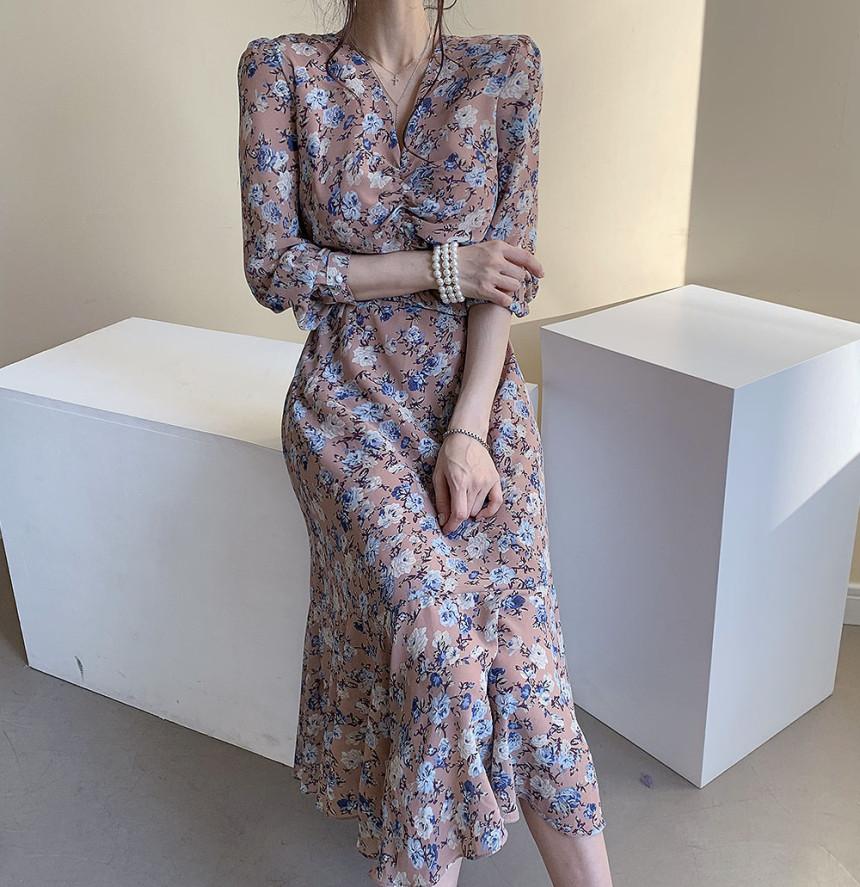 韓国 ファッション ワンピース 春 夏 秋 カジュアル PTXJ655  シアー シフォン ドレープ エレガント オルチャン シンプル 定番 セレカジの写真4枚目