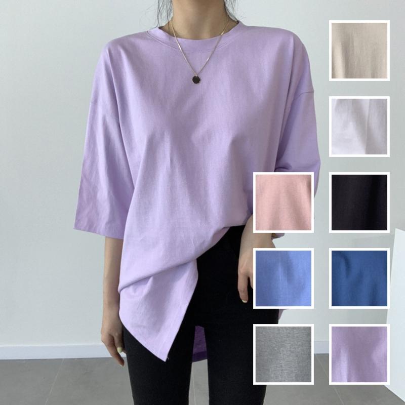 韓国 ファッション トップス Tシャツ カットソー 春 夏 カジュアル PTXJ669  シャーベットカラー オーバーサイズ Tシャツ オルチャン シンプル 定番 セレカジの写真1枚目