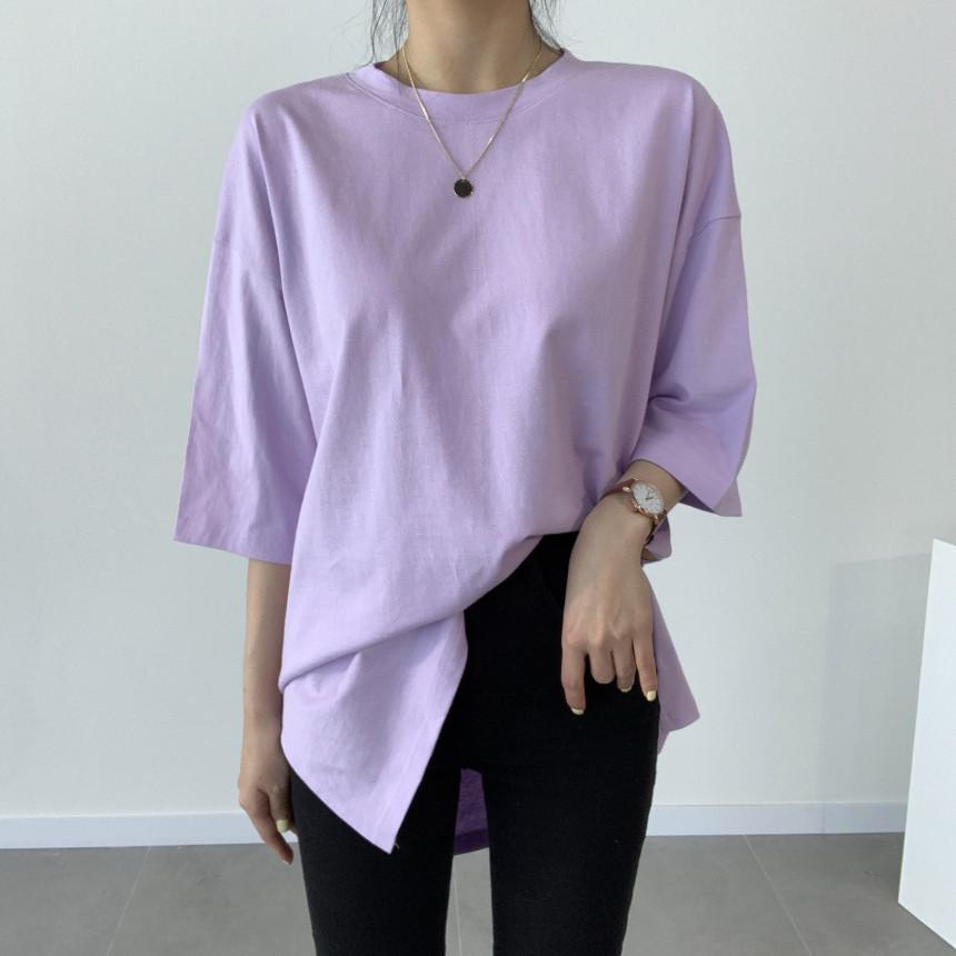 韓国 ファッション トップス Tシャツ カットソー 春 夏 カジュアル PTXJ669  シャーベットカラー オーバーサイズ Tシャツ オルチャン シンプル 定番 セレカジの写真2枚目
