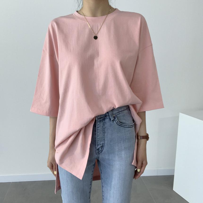 韓国 ファッション トップス Tシャツ カットソー 春 夏 カジュアル PTXJ669  シャーベットカラー オーバーサイズ Tシャツ オルチャン シンプル 定番 セレカジの写真4枚目
