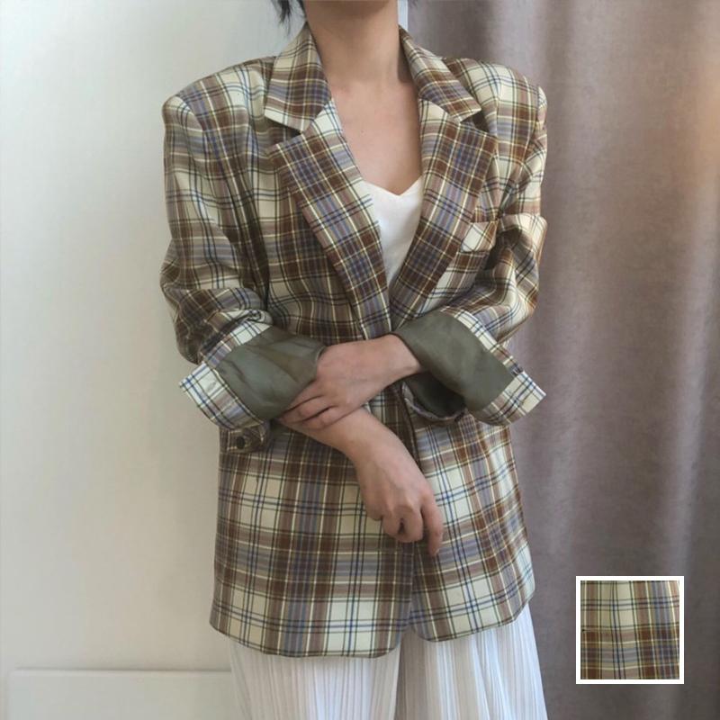 韓国 ファッション アウター ジャケット 春 夏 秋 カジュアル PTXJ670  チェック メンズライク テーラード シングル オルチャン シンプル 定番 セレカジの写真1枚目