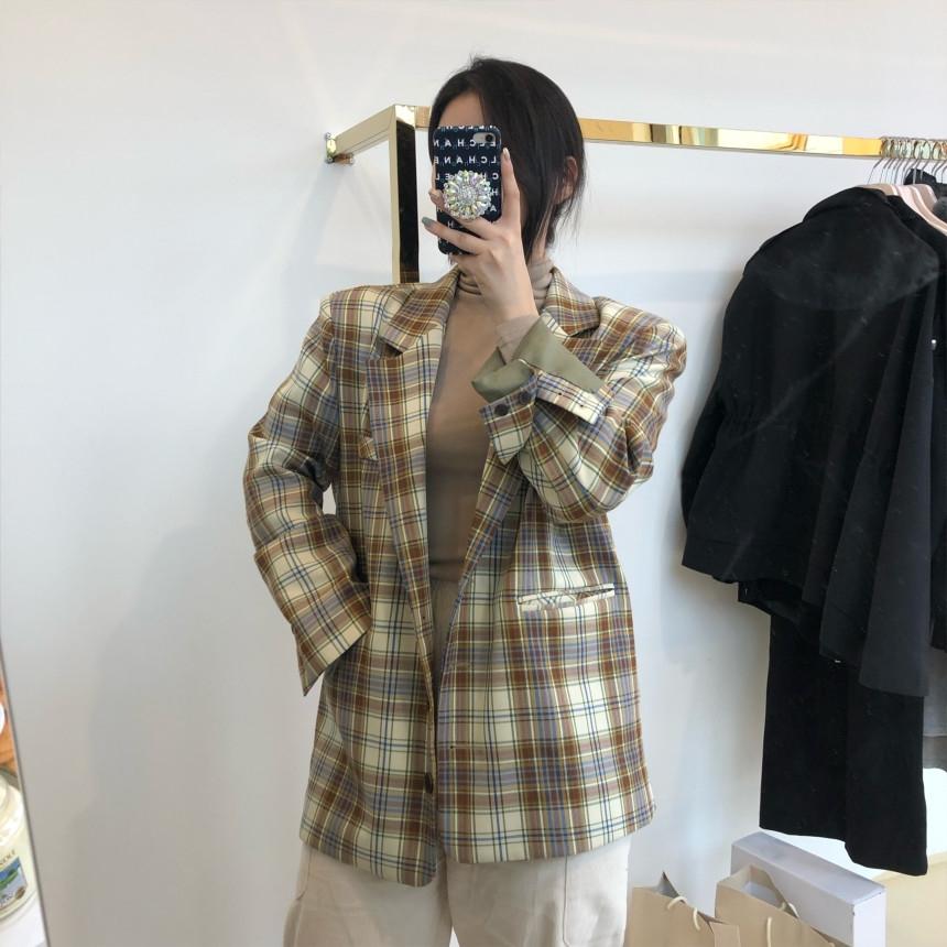 韓国 ファッション アウター ジャケット 春 夏 秋 カジュアル PTXJ670  チェック メンズライク テーラード シングル オルチャン シンプル 定番 セレカジの写真2枚目