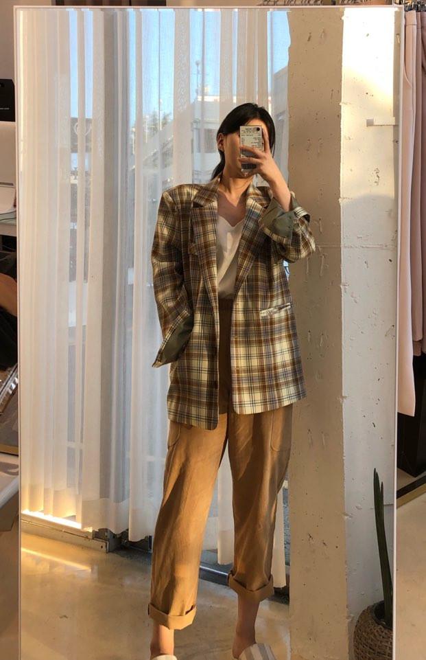 韓国 ファッション アウター ジャケット 春 夏 秋 カジュアル PTXJ670  チェック メンズライク テーラード シングル オルチャン シンプル 定番 セレカジの写真3枚目