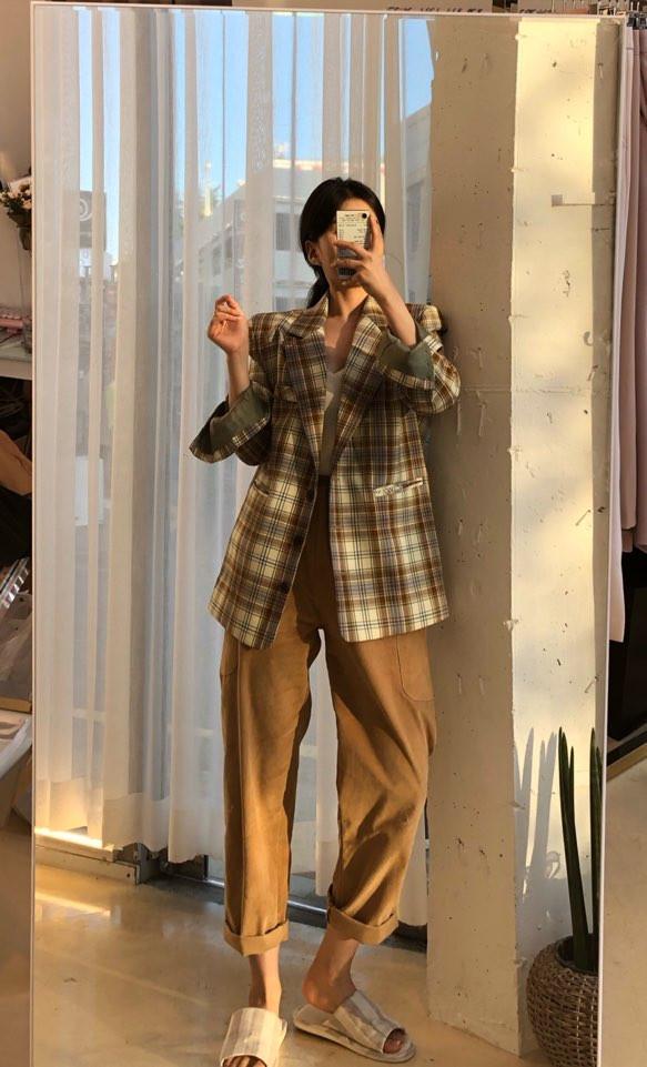 韓国 ファッション アウター ジャケット 春 夏 秋 カジュアル PTXJ670  チェック メンズライク テーラード シングル オルチャン シンプル 定番 セレカジの写真4枚目