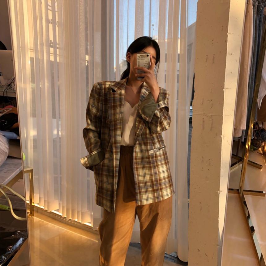 韓国 ファッション アウター ジャケット 春 夏 秋 カジュアル PTXJ670  チェック メンズライク テーラード シングル オルチャン シンプル 定番 セレカジの写真5枚目