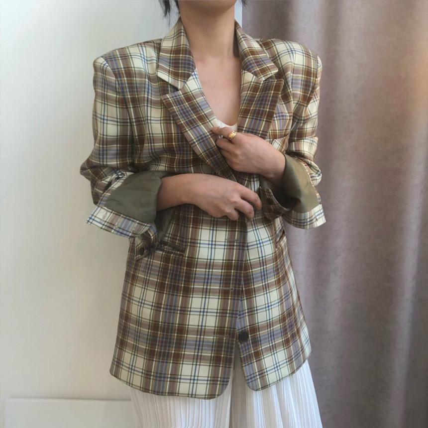 韓国 ファッション アウター ジャケット 春 夏 秋 カジュアル PTXJ670  チェック メンズライク テーラード シングル オルチャン シンプル 定番 セレカジの写真6枚目
