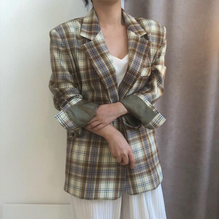 韓国 ファッション アウター ジャケット 春 夏 秋 カジュアル PTXJ670  チェック メンズライク テーラード シングル オルチャン シンプル 定番 セレカジの写真7枚目