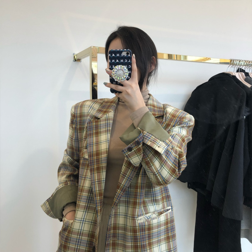 韓国 ファッション アウター ジャケット 春 夏 秋 カジュアル PTXJ670  チェック メンズライク テーラード シングル オルチャン シンプル 定番 セレカジの写真8枚目