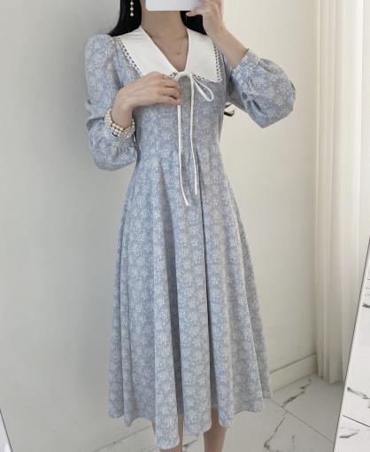 韓国 ファッション ワンピース 春 夏 秋 カジュアル PTXJ677  ティペット風 パフスリーブ ゆったり Aライン オルチャン シンプル 定番 セレカジの写真2枚目
