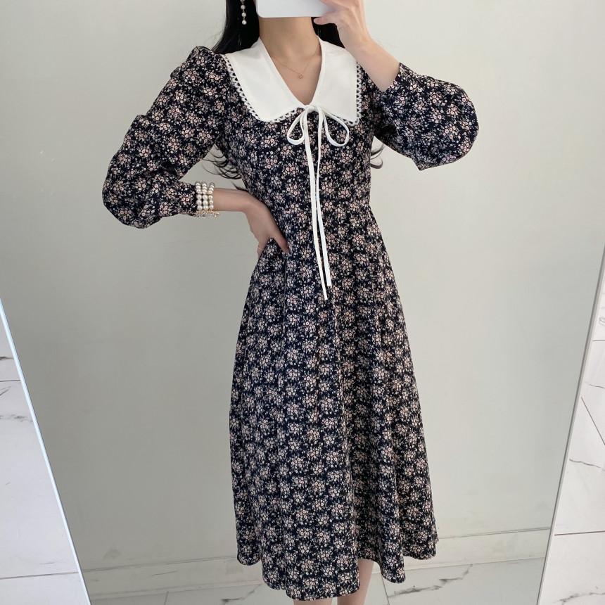 韓国 ファッション ワンピース 春 夏 秋 カジュアル PTXJ677  ティペット風 パフスリーブ ゆったり Aライン オルチャン シンプル 定番 セレカジの写真4枚目