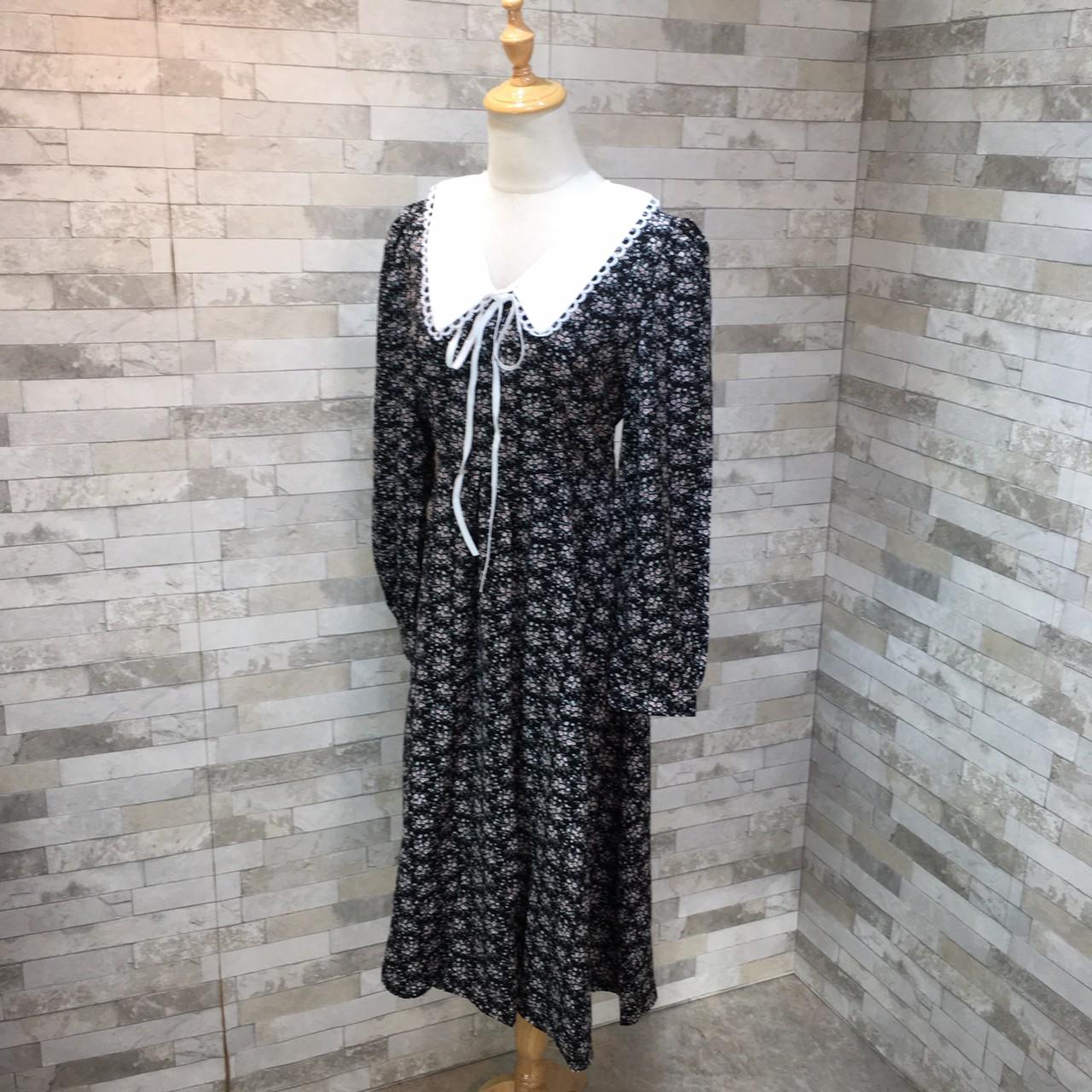 韓国 ファッション ワンピース 春 夏 秋 カジュアル PTXJ677  ティペット風 パフスリーブ ゆったり Aライン オルチャン シンプル 定番 セレカジの写真5枚目