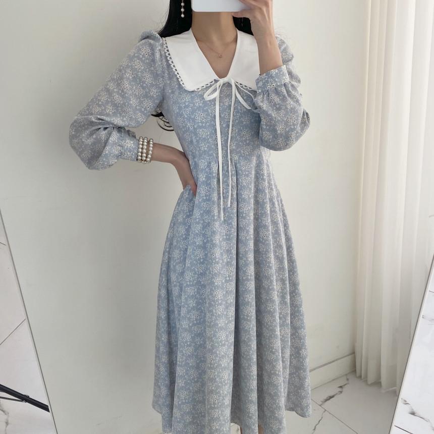 韓国 ファッション ワンピース 春 夏 秋 カジュアル PTXJ677  ティペット風 パフスリーブ ゆったり Aライン オルチャン シンプル 定番 セレカジの写真6枚目