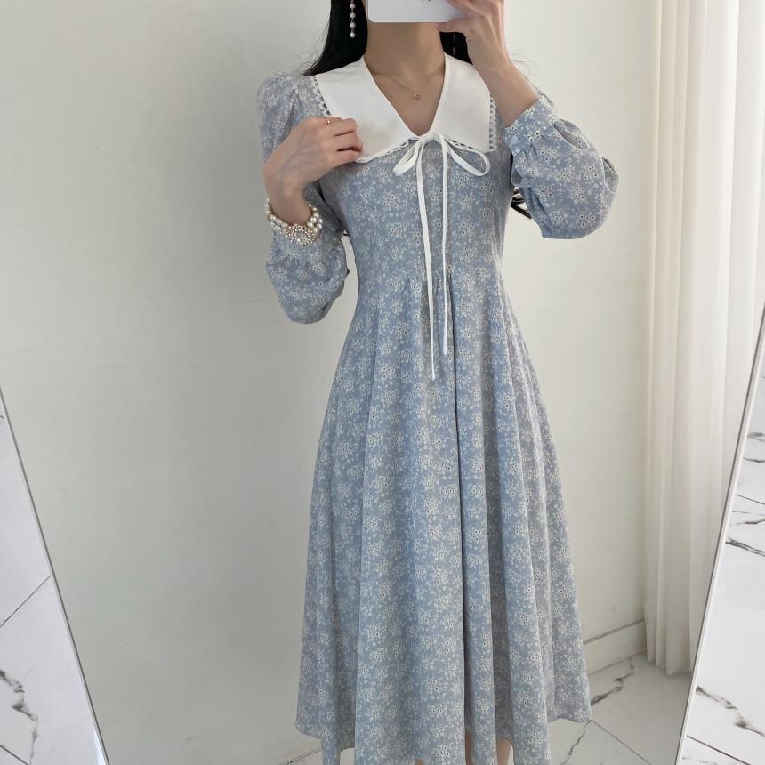 韓国 ファッション ワンピース 春 夏 秋 カジュアル PTXJ677  ティペット風 パフスリーブ ゆったり Aライン オルチャン シンプル 定番 セレカジの写真7枚目