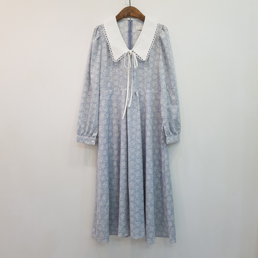 韓国 ファッション ワンピース 春 夏 秋 カジュアル PTXJ677  ティペット風 パフスリーブ ゆったり Aライン オルチャン シンプル 定番 セレカジの写真8枚目