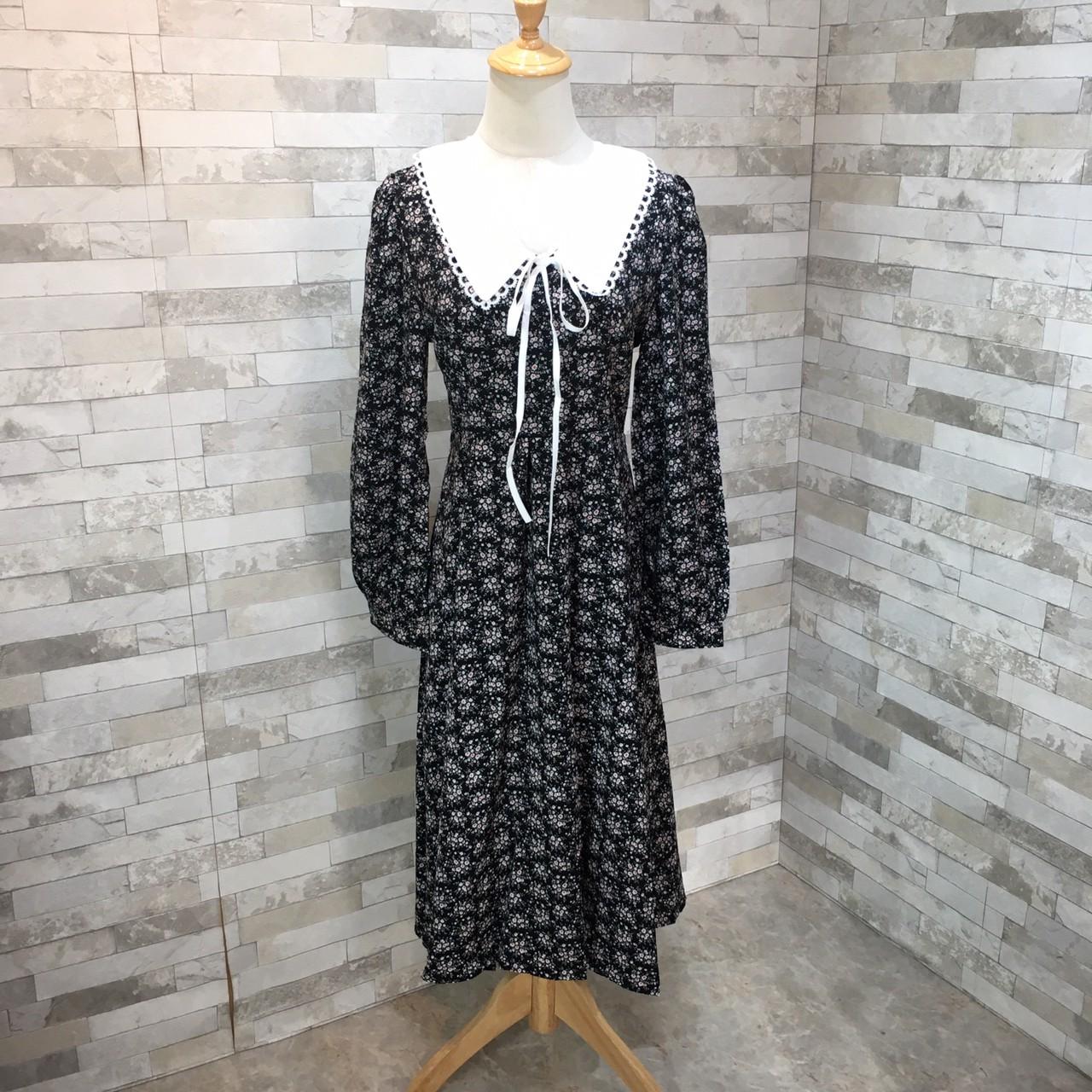 韓国 ファッション ワンピース 春 夏 秋 カジュアル PTXJ677  ティペット風 パフスリーブ ゆったり Aライン オルチャン シンプル 定番 セレカジの写真12枚目