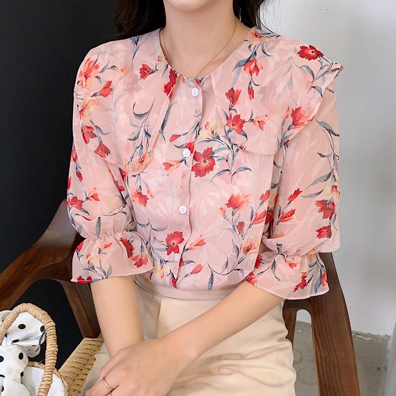 韓国 ファッション トップス ブラウス シャツ 春 夏 カジュアル PTXJ696  シアー シフォン ビッグカラー 五分袖 オルチャン シンプル 定番 セレカジの写真2枚目