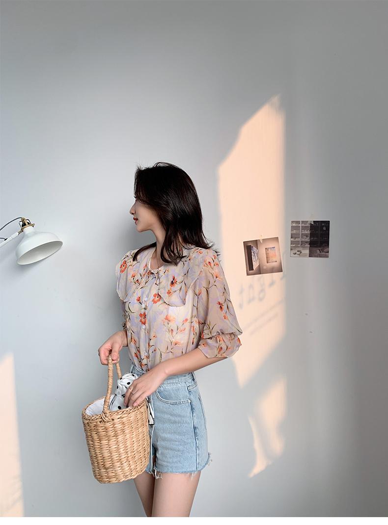 韓国 ファッション トップス ブラウス シャツ 春 夏 カジュアル PTXJ696  シアー シフォン ビッグカラー 五分袖 オルチャン シンプル 定番 セレカジの写真9枚目